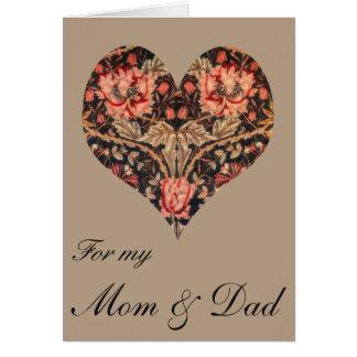 Vintage Floral Mom & Dad Valentine Card