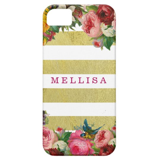 Vintage Floral Monogram Gold White Stripes iPhone 5 Covers