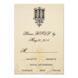 Vintage Floral Monogram M Wedding RSVP Cards 9 Cm X 13 Cm Invitation Card