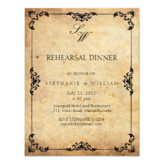 Vintage Floral Monogram Rehearsal Dinner Card 11 Cm X 14 Cm Invitation Card