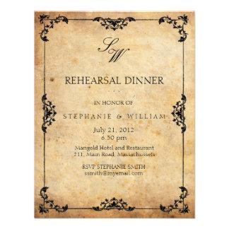 Vintage Floral Monogram Rehearsal Dinner Card Custom Invites