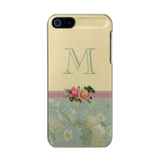 Vintage Floral Monogram Rose Green Gold Incipio Feather® Shine iPhone 5 Case