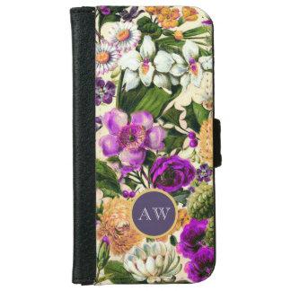 Vintage floral monogram wildflowers girly iPhone 6 wallet case