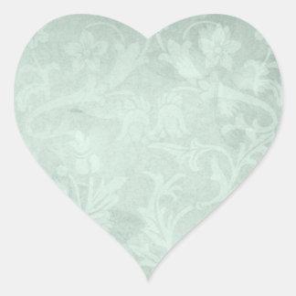 Vintage Floral Moss Green Heart Sticker
