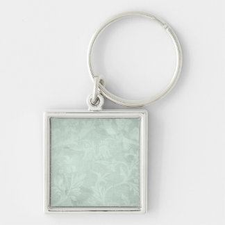 Vintage Floral Moss Green Silver-Colored Square Key Ring
