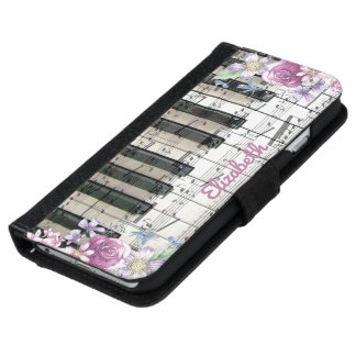 vintage floral music piano keyboard iPhone 6 wallet case