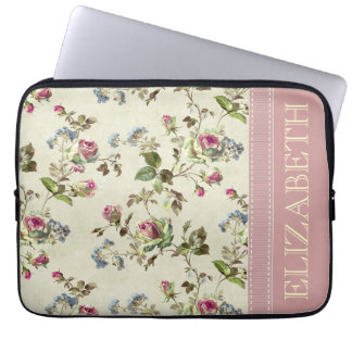 Vintage Floral Name Case Laptop Computer Sleeve