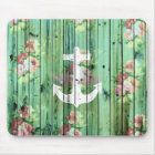 Vintage Floral Nautical Anchor Green Beach Wood Mouse Mat