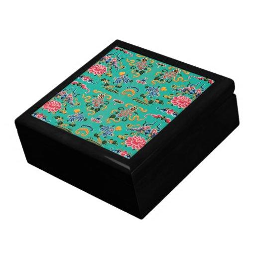 Vintage Floral on Bold Teal Trinket Box