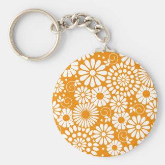 Vintage floral orange Keychain