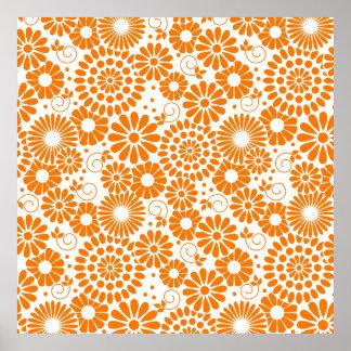 Vintage floral orange Poster