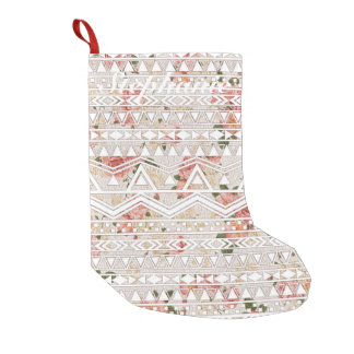 Vintage Floral Painting and White Aztec Pattern Small Christmas Stocking