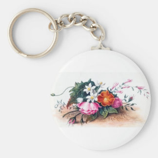 Vintage Floral Painting - Anne Wagner Vintage Basic Round Button Key Ring