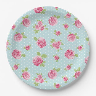 Vintage Floral Paper Plate Shabby Chic Roses 9 Inch Paper Plate