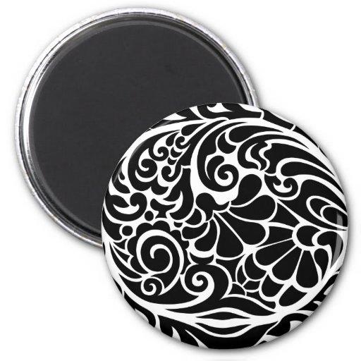 vintage floral pattern 6 cm round magnet