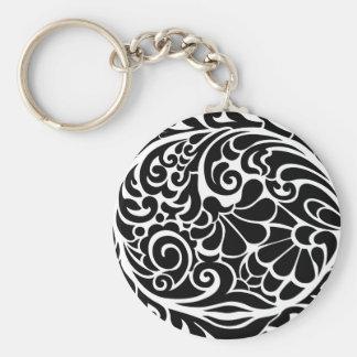 vintage floral pattern basic round button key ring
