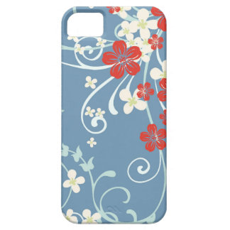 Vintage Floral Pattern - Beautiful Blue and Red iPhone 5 Cases