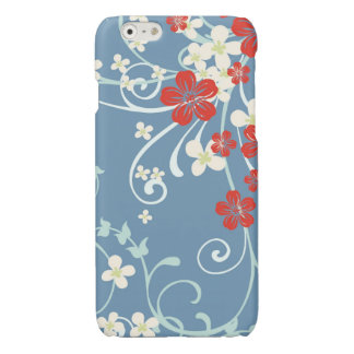 Vintage Floral Pattern - Beautiful Blue and Red iPhone 6 Plus Case