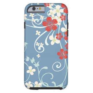Vintage Floral Pattern - Beautiful Blue and Red Tough iPhone 6 Case