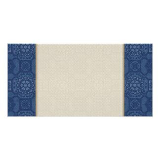 Vintage Floral Pattern - Blue on Blue Photo Card