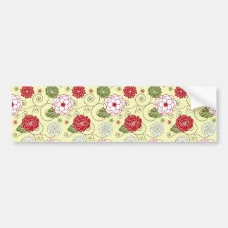 Vintage Floral Pattern Bumper Stickers