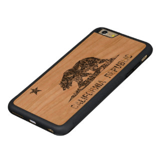 Vintage Floral Pattern California Flag Carved® Cherry iPhone 6 Plus Bumper Case
