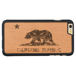 Vintage Floral Pattern California Flag Carved® Cherry iPhone 6 Plus Case