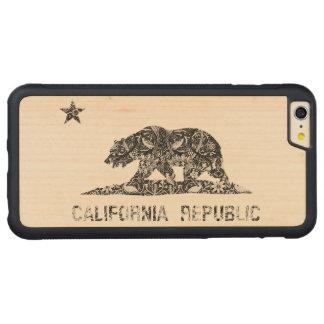 Vintage Floral Pattern California Flag Carved® Maple iPhone 6 Plus Bumper Case