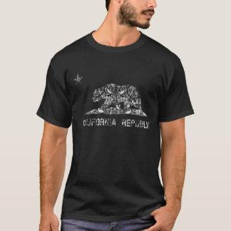Vintage Floral Pattern California Flag T-Shirt