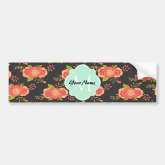 Vintage Floral Pattern Custom Monogram Bumper Sticker