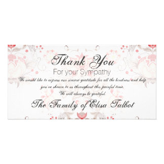 Vintage Floral Pattern Damask Sympathy Thank You P Card