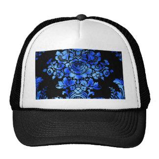 Vintage Floral Pattern Gift Black Blue Cap