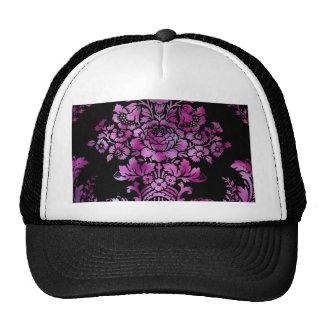 Vintage Floral Pattern Gift Black Pink Mesh Hats