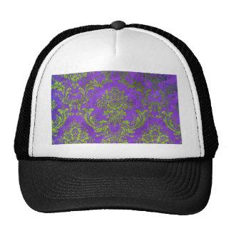 Vintage Floral Pattern Gift Purple Green Mesh Hats