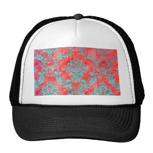 Vintage Floral Pattern Gift Red Blue Mesh Hat