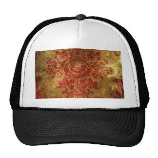 Vintage Floral Pattern Gift Red Gold Trucker Hats