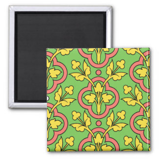 Vintage Floral Pattern Green Peach Yellow Decor Square Magnet