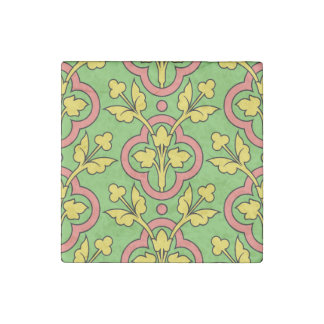 Vintage Floral Pattern Green Peach Yellow Decor Stone Magnet