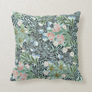 Vintage Floral Pattern in Soft Green and Pale Pink Cushion