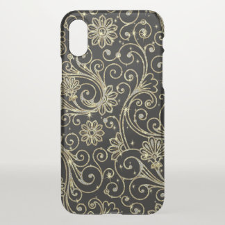 Vintage floral pattern In white & gold glitter iPhone X Case