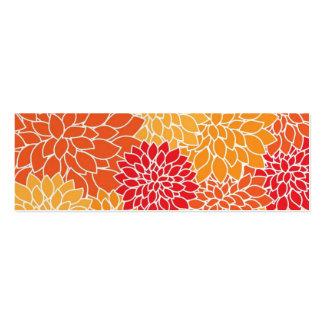Vintage Floral Pattern Orange Red Dahlias Flowers Pack Of Skinny Business Cards