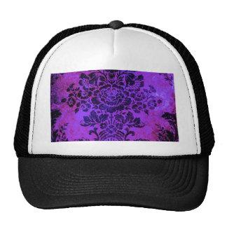 Vintage Floral Pattern Purple PInk Blue Trucker Hats