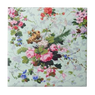 Vintage Floral Pattern Small Square Tile