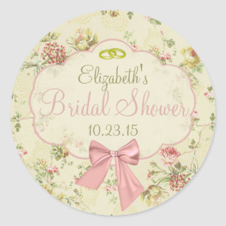 Vintage Floral Peach Bow Bridal Shower Round Sticker