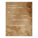 Vintage Floral Peacock Rustic Wedding RSVP Card 11 Cm X 14 Cm Invitation Card