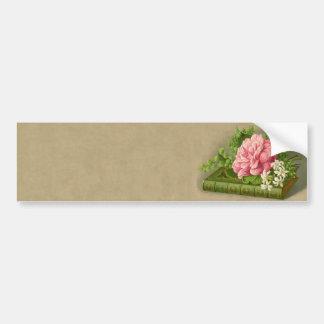 Vintage Floral Peony Classy Book Elegant Bumper Sticker