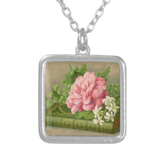 Vintage Floral Peony Classy Book Elegant Square Pendant Necklace