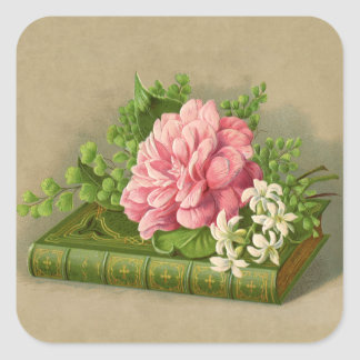 Vintage Floral Peony Classy Book Elegant Square Sticker
