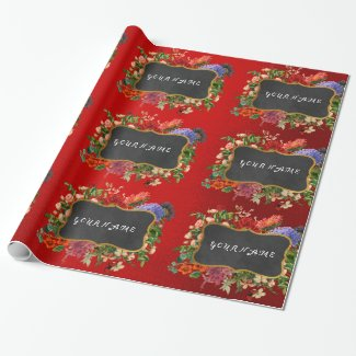Vintage Floral Peony Personalized Name Red Rose Wrapping Paper
