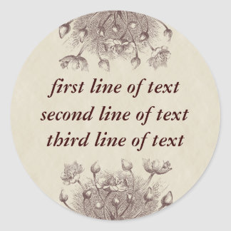 Vintage Floral Personalized Sticker